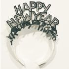 Happy new year diadeem zwart met glitters